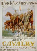 "Vintage War Poster ""The horse is man's noblest companion - join the cavalry and have a courageous friend."""